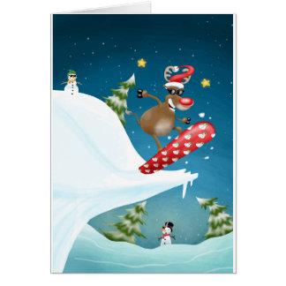 Snowboarding reindeer card