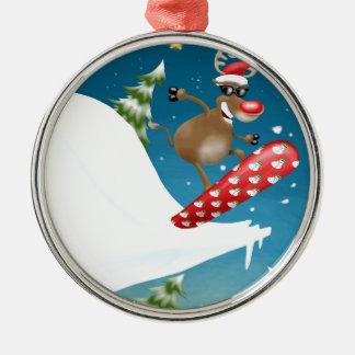 Snowboarding reindeer christmas ornament