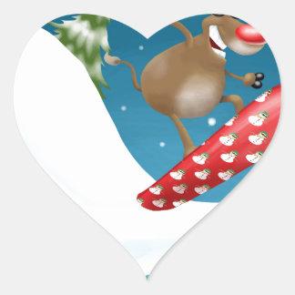 Snowboarding reindeer heart sticker