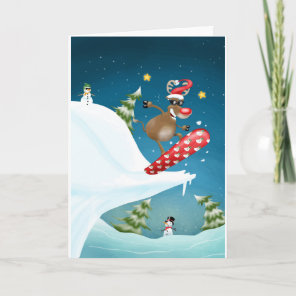 Snowboarding reindeer holiday card