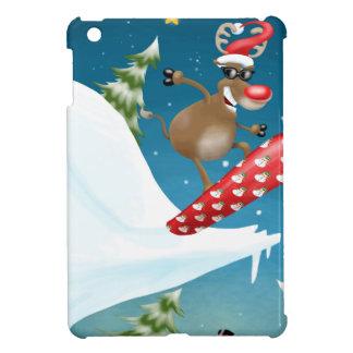 Snowboarding reindeer iPad mini case