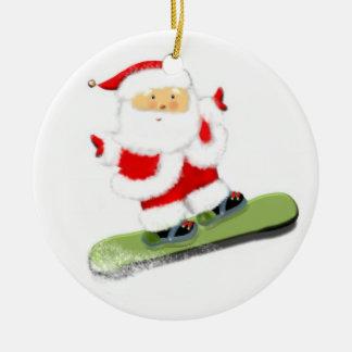 Snowboarding Santa Christmas Ornament