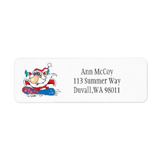 Snowboarding Santa Clause Return Address Label