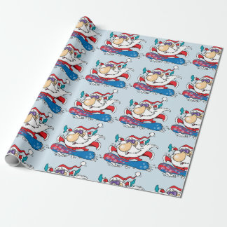 Snowboarding Santa Clause Wrapping Paper
