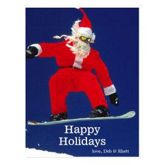 Snowboarding Santa Postcard