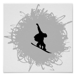 Snowboarding Scribble Style Poster
