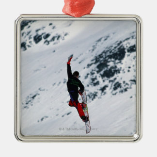 Snowboarding Silver-Colored Square Decoration