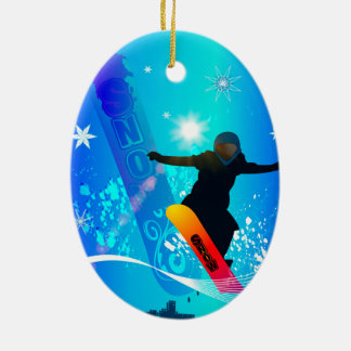 Snowboarding, snowboarder with board christmas ornament