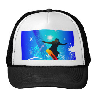 Snowboarding, snowboarder with board trucker hat