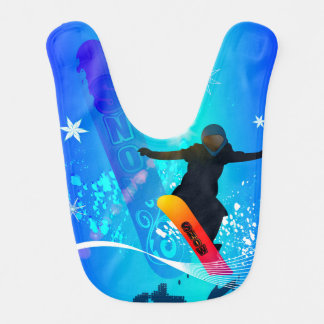 Snowboarding, snowboarder with board on blue backg bibs