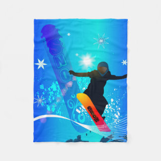 Snowboarding, snowboarder with board on blue backg fleece blanket