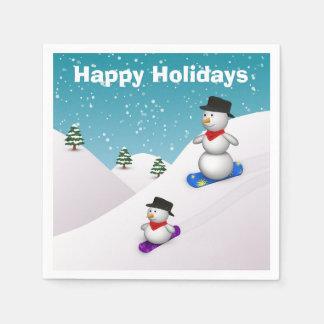 Snowboarding Snowmen Happy Holidays Paper Napkin