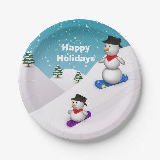 Snowboarding Snowmen Happy Holidays - Paper Plate