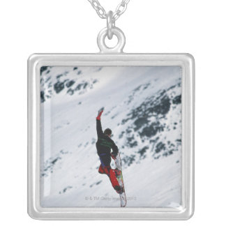 Snowboarding Square Pendant Necklace