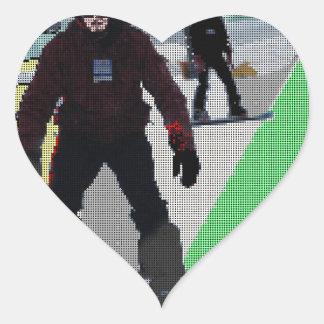 SNOWBOARDING HEART STICKER