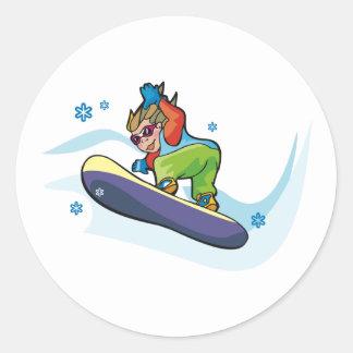Snowboarding Stickers Round Sticker