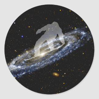 Snowboarding the Andromeda Galaxy. Classic Round Sticker