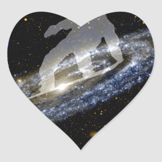 Snowboarding the Andromeda Galaxy. Heart Stickers