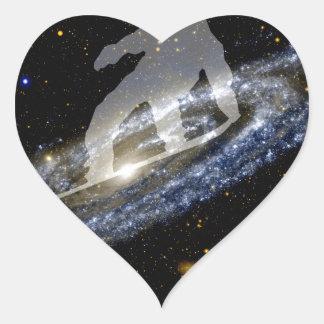 Snowboarding the Andromeda Galaxy. Heart Sticker