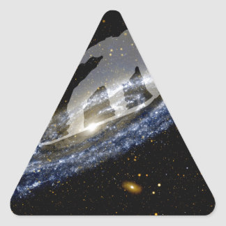 Snowboarding the Andromeda Galaxy. Triangle Sticker
