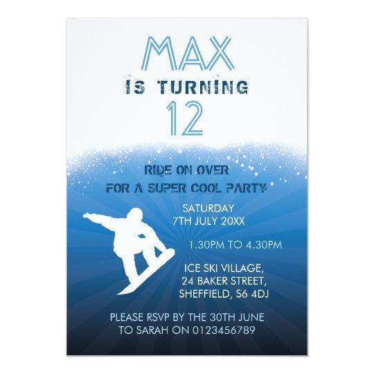 Snowboarding themed birthday party invitation
