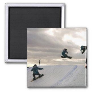 Snowboarding Tricks Square Magnet Magnet