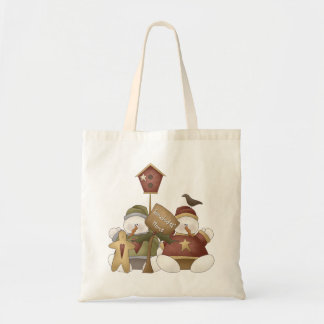 Snowbodies' Home Snowman Winter Scene Tote Bag