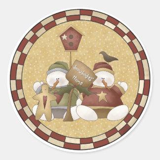 Snowbodies Home Snowmen Classic Round Sticker