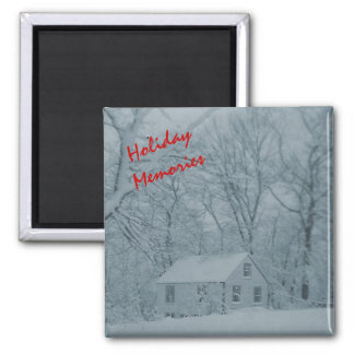 Snowbound Cottage in New England - Personalizable Square Magnet