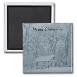 Snowbound Cottage Square Magnet