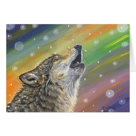 Snowbound Howling Wolf in the Snow Painting Art Card