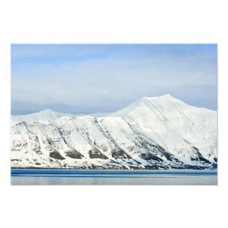 Snowcapped peaks Woodfjord Svalbard 2 Photographic Print