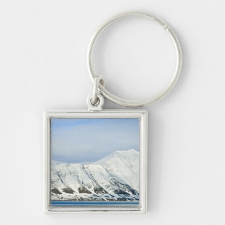 Snowcapped peaks Woodfjord Svalbard 2 Silver-Colored Square Key Ring