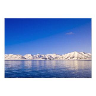 Snowcapped peaks Woodfjord Svalbard Photographic Print