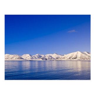 Snowcapped peaks Woodfjord Svalbard Postcard