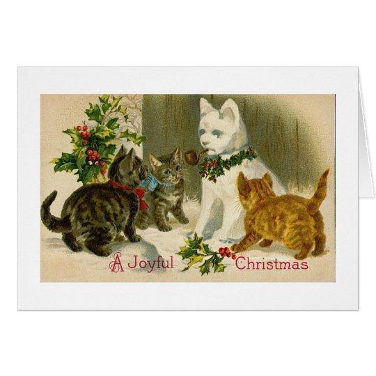 SNOWCAT VINTAGE CHRISTMAS CARD