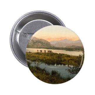 Snowdon from Glaslyn, Gwynedd, Wales 6 Cm Round Badge