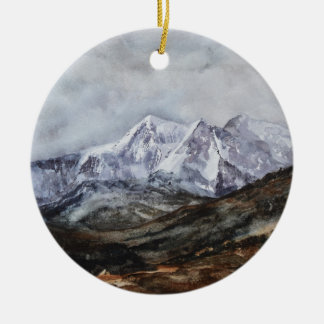 Snowdon Horseshoe in Winter.JPG Round Ceramic Decoration
