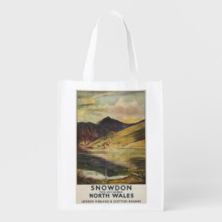Snowdon Mountain View Railway Poster Reusable Grocery Bag