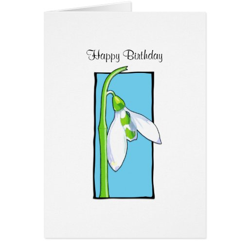 Snowdrop blue Birthday Card