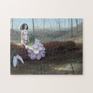 Snowdrop - Fantasy Girl Sitting in Forest Jigsaw Puzzle