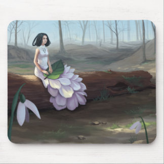 Snowdrop - Pretty Girl in White Dress in Forest Mouse Mat