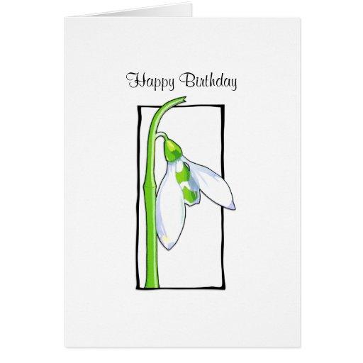 Snowdrop white Birthday Card