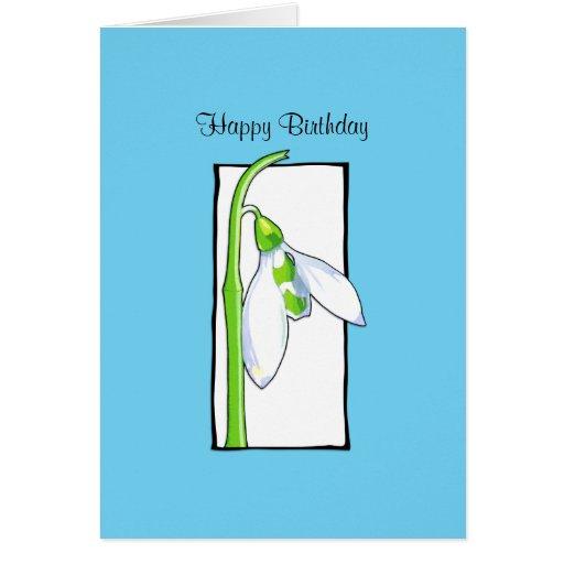 Snowdrop white blue Birthday Card