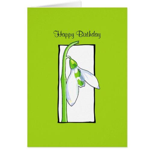 Snowdrop white green Birthday Card