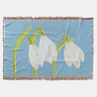 Snowdrops Flowers Throw Blanket