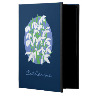 Snowdrops on Soft Blue Oval and Navy Background Case For iPad Air