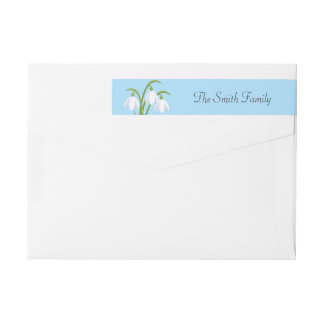 Snowdrops - Spring Flowers on Blue Wrap Around Label