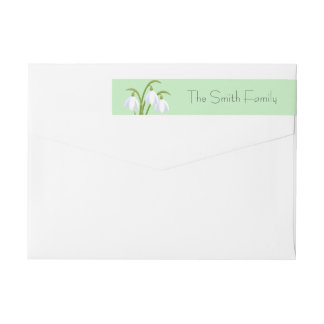 Snowdrops - Spring Flowers on Green Wrap Around Label