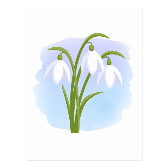 Snowdrops - Spring Flowers on Watercolor Blue Postcard